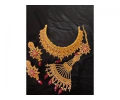 Bridal jewellery indian available for rent دلہن کے ہارسیٹ کرائے پر